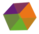 vee eye software logo featuring a large tri-colored cube